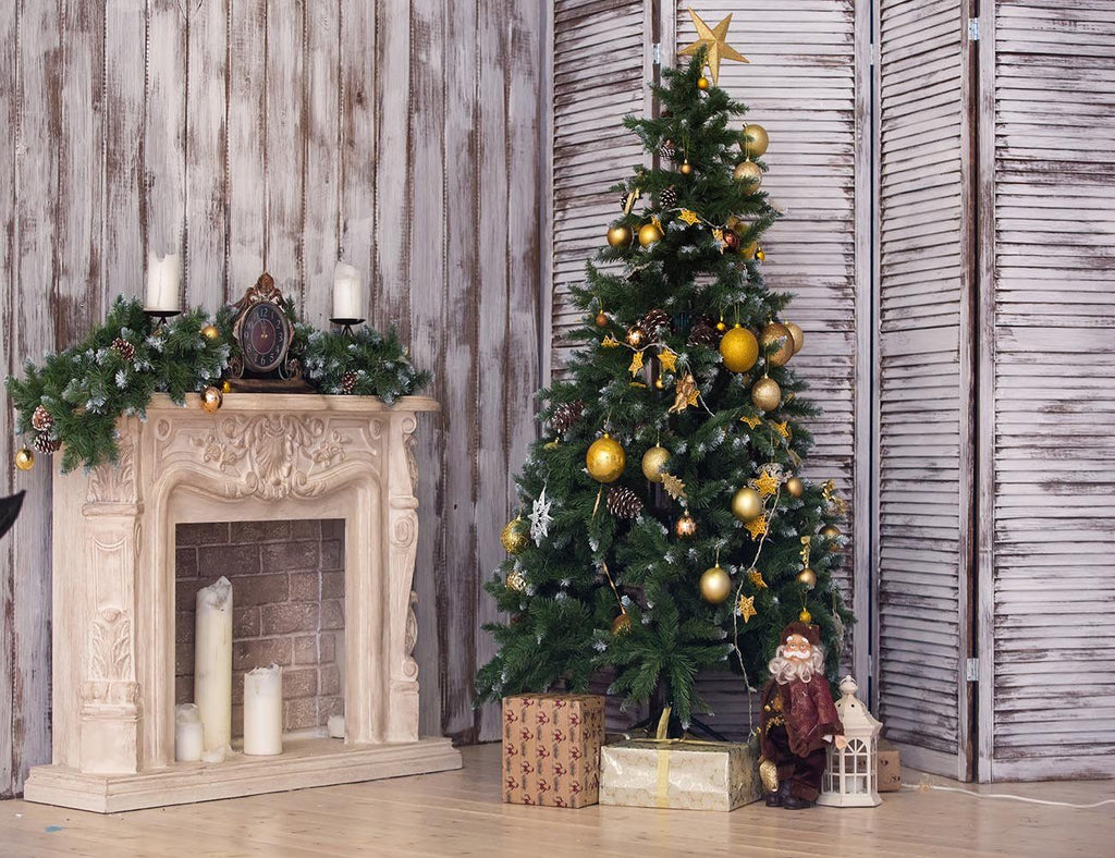 Cozy Room With New Year Tree And Fireplace Photography Backdrop J-0656
