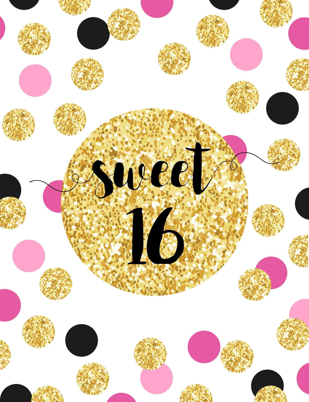 Custom 16th Birthday Background With Golden Pink Polka Dots Backdrop - Shop Backdrop