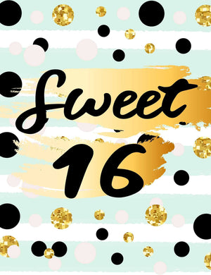 Custom 16th Birthday Polka Dots Background Backdrop - Shop Backdrop