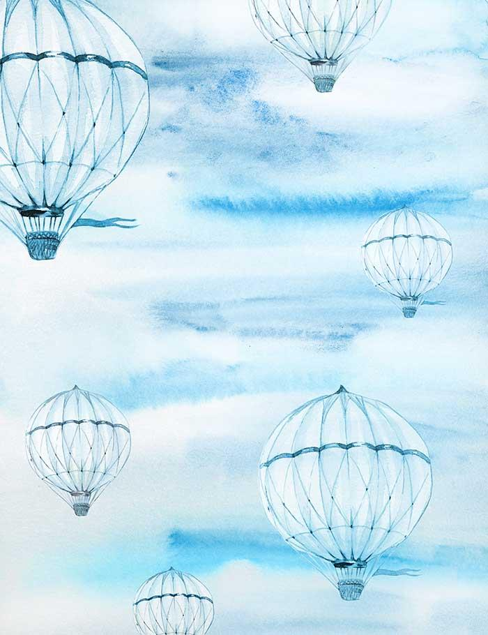 Custom Painted Hot Air Balloon For Baby Photography Fabric Backdrop - Shop Backdrop