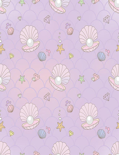 Custom Pearl Baker Starfish With Purple Wall Photography Backdrop J-0377