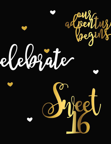 Custom Sweet 16th Birthday With Black Background Backdrop - Shop Backdrop