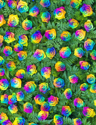 Custom Wedding Rainbow Rose Wall Photography Backdrop S-2557