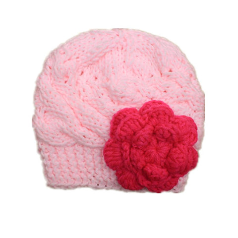 Pink Wool Knit Suit Hat With Red Flower Photo Props