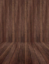 Dark Brown Wooden Floor Mat And Wall Photography Backdrop J-0085