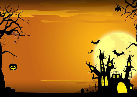 Dark Castle And Bats In Chrome Yellow Sky For Halloween Photography Backdrop - Shop Backdrop