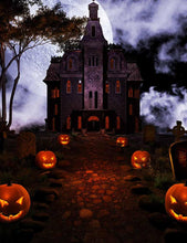 Dark Castle Pumpkins Beside Road Halloween Holiday Photo Backdrop - Shop Backdrop