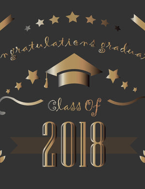 Dark Gold Bachelor Cap Printed On Black For Congratulations Graduation Backdrop - Shop Backdrop