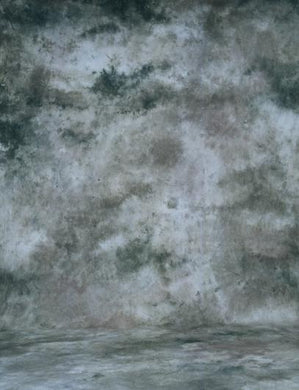 Dark Gray And Green Abstract Muslin Photo Backdrop Hand Painted
