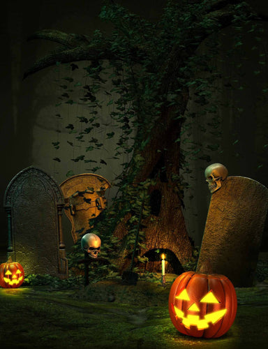 Dark Horror Cemetery With Skull And Pumpkin For Halloween Photography Backdrop - Shop Backdrop