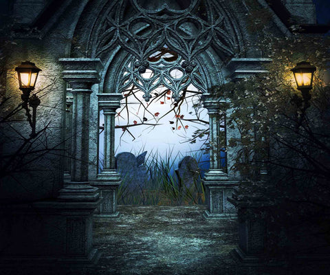 Dark Retro Castle Gates For Halloween Photography Backdrop - Shop Backdrop