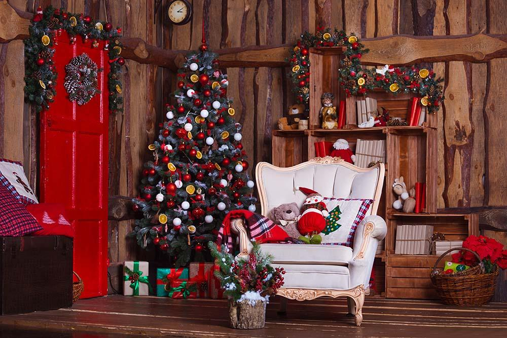 Decorated Christmas Room With White Chair Photography
