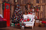 Decorated Christmas Room With White Chair Photography Backdrop N-0019