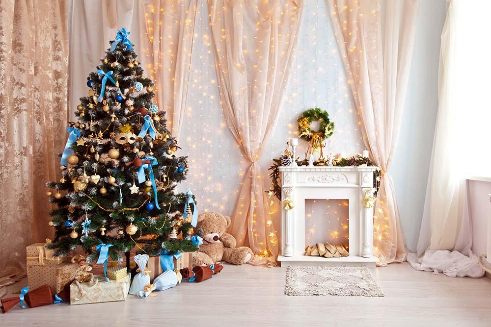 Decorated Class Green Christmas Tree For Holiday Photography Backdrop N-0018
