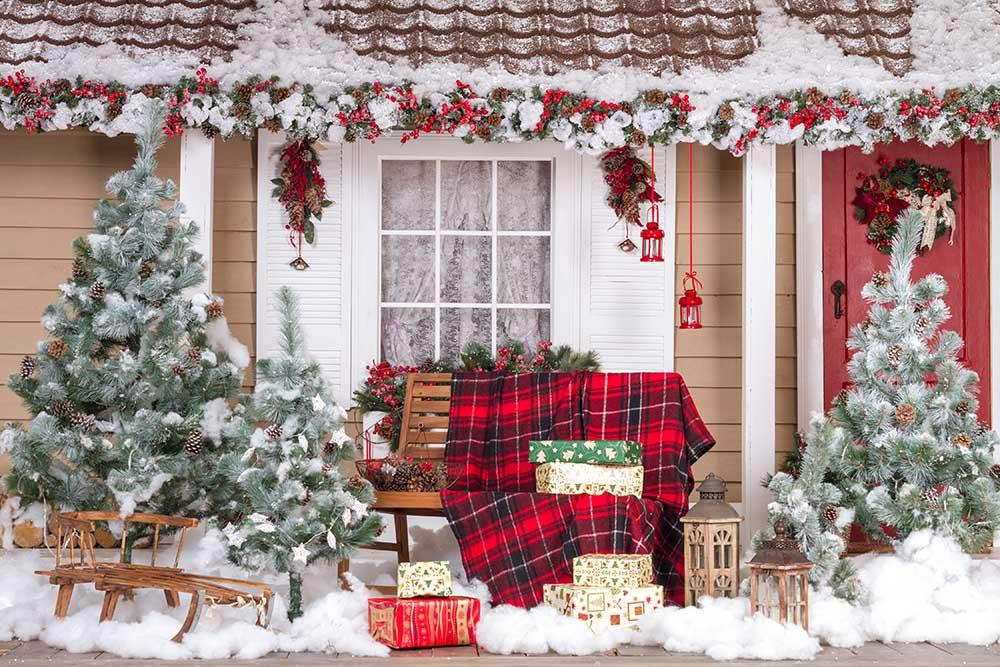 Decorated House For Christmas And Happy New Year Photography Backdrop N-0009