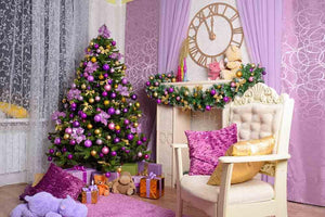 Decorated Pink Room For Christmas Photography Backdrop J-0222