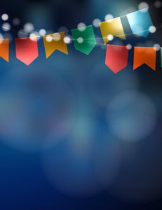 Deep Blue Bokeh Background With Party Flags Photography Backdrop - Shop Backdrop