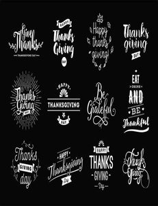 Different Fonts Thanksgiving Painted On Blackboard For Holiday Photography  Backdrop