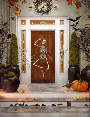 Door Decorated With Skull For Halloween Photography Backdrop J-0601