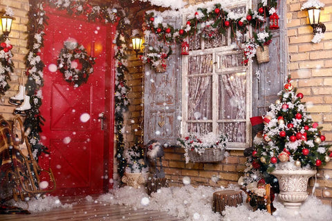Doors Decorated By Festive Chaplet And Toys For Christmas Photogrpahy Backdrop J-0742