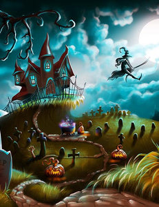 Double Wide Cartoon Painted Halloween Holiday Photography Backdrop N-0098
