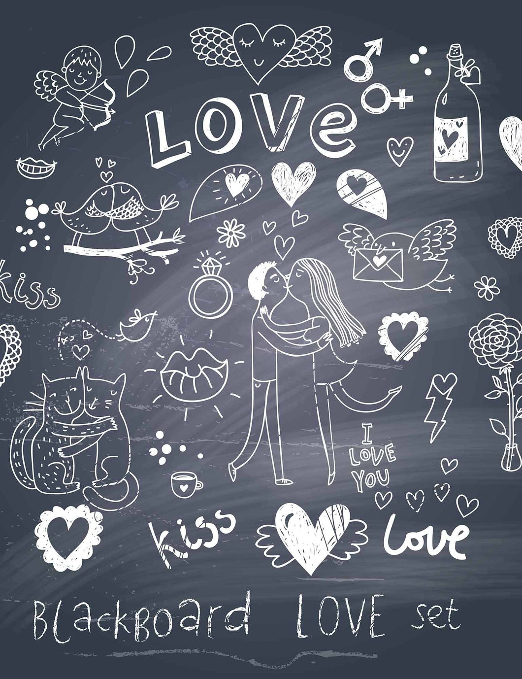 Draw Couple And Love On Blackboard For Valentines Day Photography Backdrop - Shop Backdrop