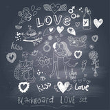 Draw Couple And Love On Blackboard For Valentines Day Photography Backdrop