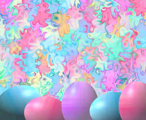 Colorful Easter Eggs With Abstract Watercolor Background Backdrop - Shop Backdrop