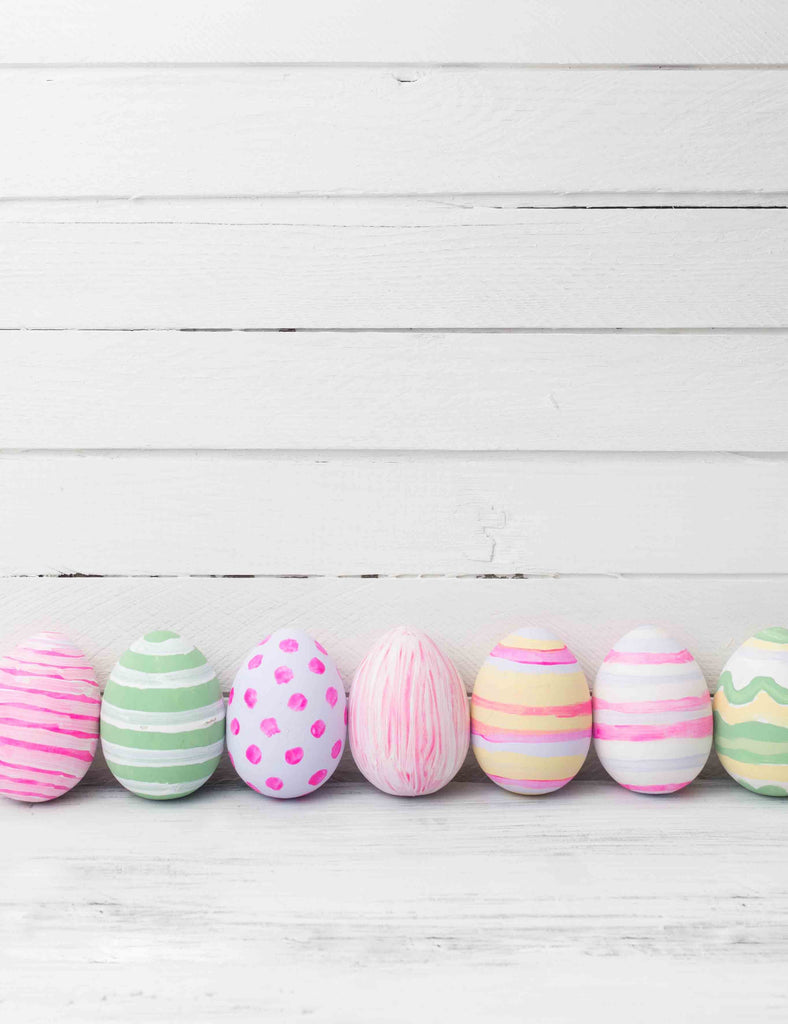 Easter Colorful Eggs On White Floor With Wood Wall Texture Backdrop For Photography - Shop Backdrop