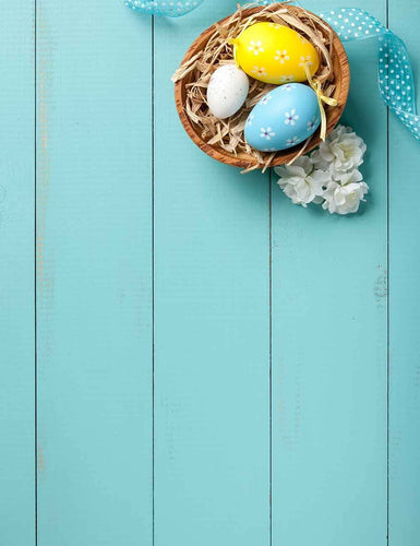 Easter Eggs In Basket On Wood Floor Mat Texture Photography Backdrop Q-0146