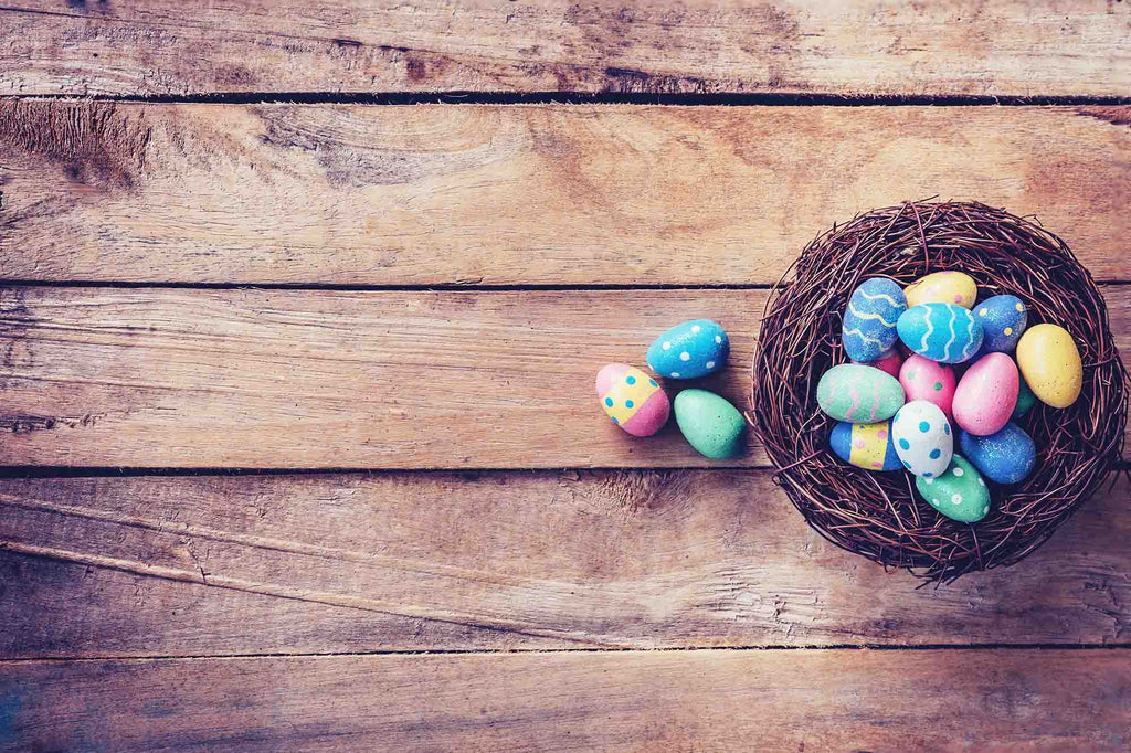 Easter Eggs In Basket On Wood Floor Photography Backdrop - Shop Backdrop