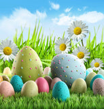Easter Eggs On Green Grass With Flowers And Blue Sky Background For Holiday Backdrop - Shop Backdrop