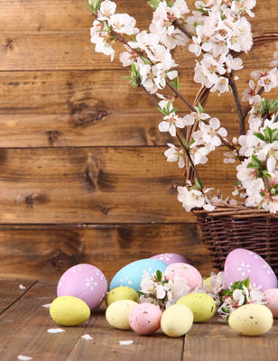 Easter Eggs On Wooden Floor And Cherry Blossom In Basket Backdrop - Shop Backdrop