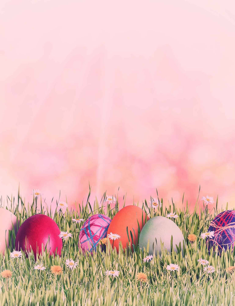 Easter Holiday With Pink Background And Colorful Eggs On The Grass - Shop Backdrop