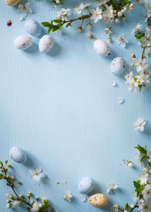 Eggs And Flowers On Baby Blue Wood Backdrop For Photography - Shop Backdrop