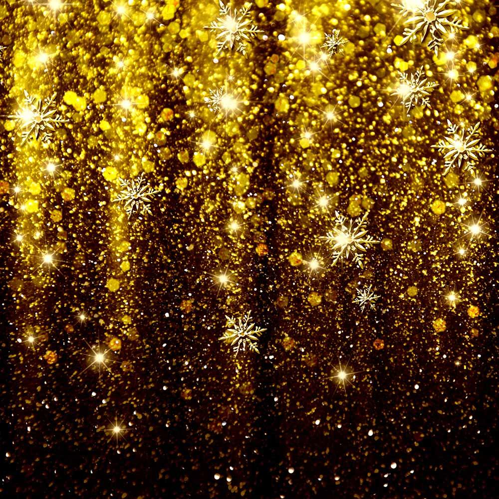 Elegant Christmas Background With Golden Snowflakes Photography Backdrop N-0065