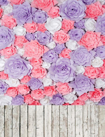 Emulation Flowers Wall With Wood Floor Texture Photography Backdrop S-2548