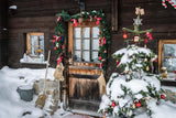 Entrance House With Christmas Decorations Christmas Tree Covered with Snow Photography Backdrop J-0737