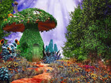 Fairytale Scene With Mushroom House Covered By Ivy Colorful Flowers Photography Backdrop J-0370