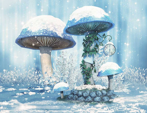 Fantastic Mushroom In Winter Snow Photography Backdrop J-0662