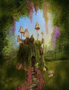 Fantasy House On Tree Trunk With Mushrooms In Forest Photography Backdrop J-0310