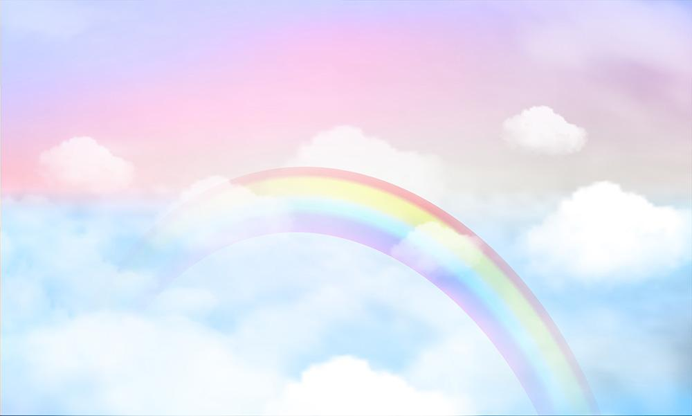Fantasy Magical Landscape Rainbow On Clouds Sky Photography Backdrop J-0380