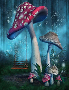 Fantasy Mushrooms With Fairy Swing In Forest Photography Backdrop J-0365