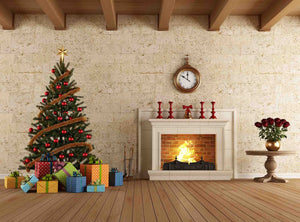 Fireplace Bell And Christmas Tree With Wood Floor Backdrop - Shop Backdrop
