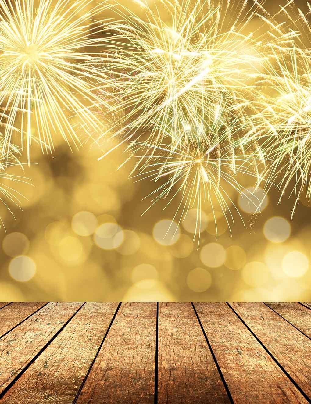 Fireworks Canary Yellow Bokeh Background For Christmas