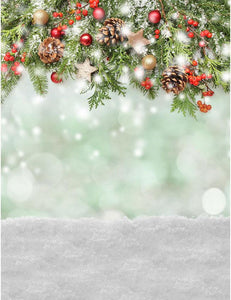 Firtree For Christmas With Bokeh Background And Snow Floor Photography Backdrop S-2457