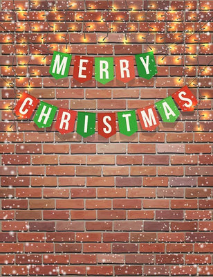 Flag Garland With Marry Christmas On Red Brick Wall Photography Backdrop N-0071