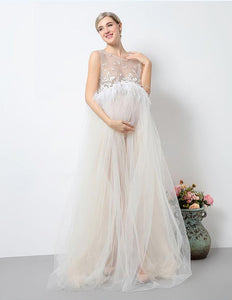 Floral White Lace Sleeveless Maternity Gown Dress With Feather Trim Photo Prop - Shop Backdrop