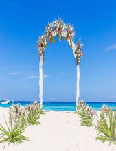 Flower Arch With Beach And Sea For Wedding Photography Backdrop lv-059