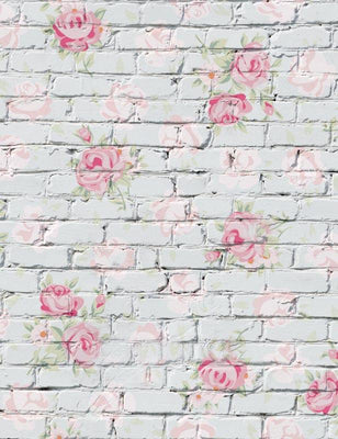 Flower Printed On White Brick Wall Photography Backdrop S-1384